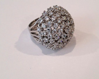 Vintage Sterling Silver Diamond Cluster Estate Jewelry Ring
