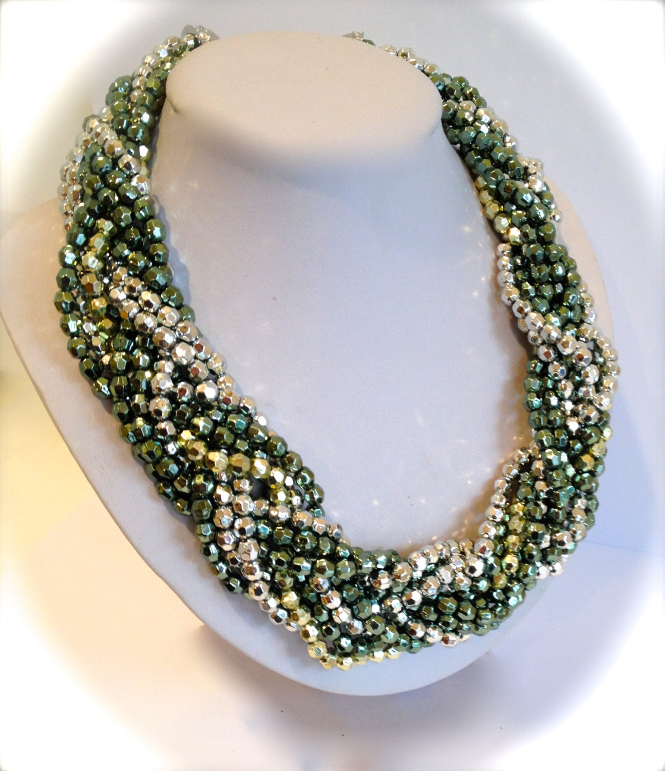 Torsade Necklace: Chunky Torsade Necklace Braided Necklace Green Silver Gold