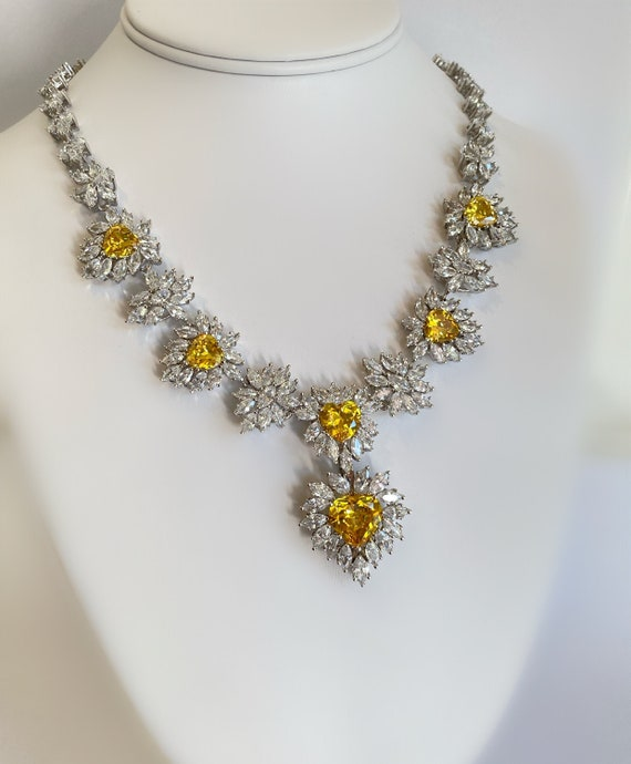 Yellow Diamond and Marquise Convertible Necklace E