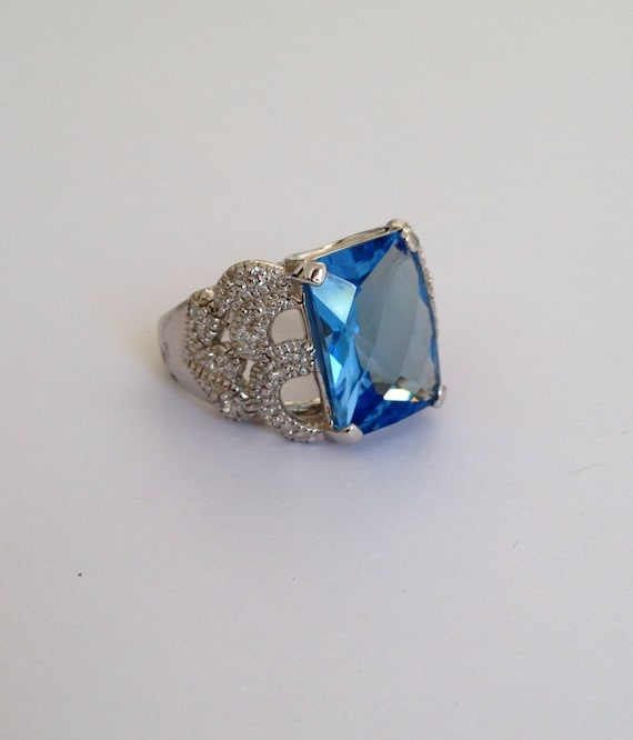 Sterling Silver Aquamarine and Pave Multi Stone Es
