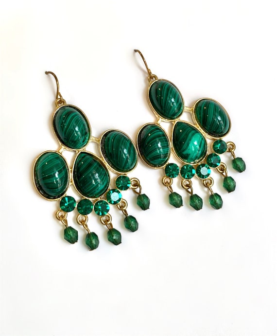 Malachite and Emerald Gold Estate Earrings Green S