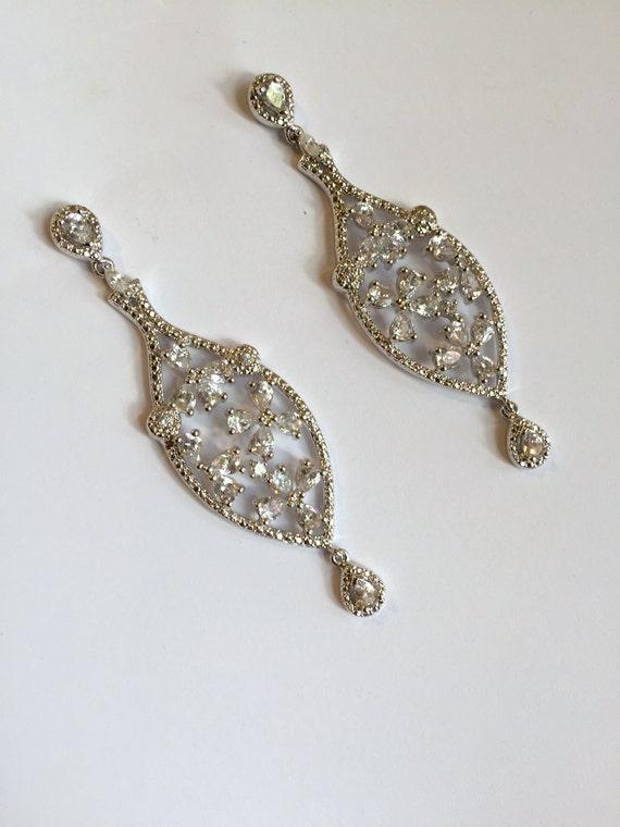 Silver Multi Stone Dangle Earrings Pear and Marqui
