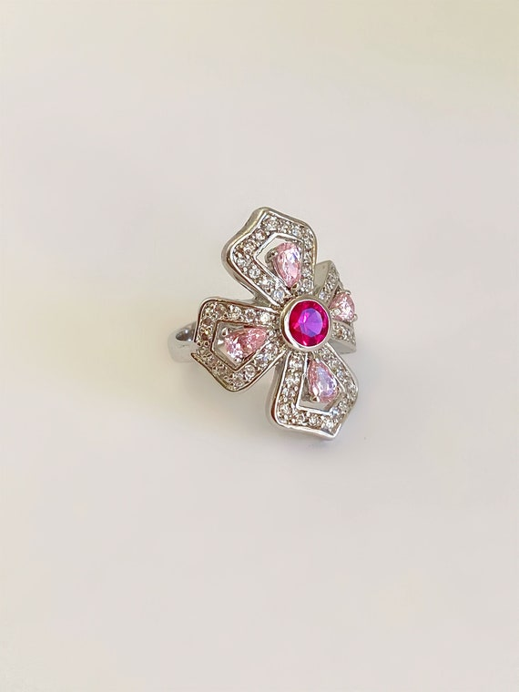 Silver Pink Sapphire Multi Gemstone and Pave Shiel