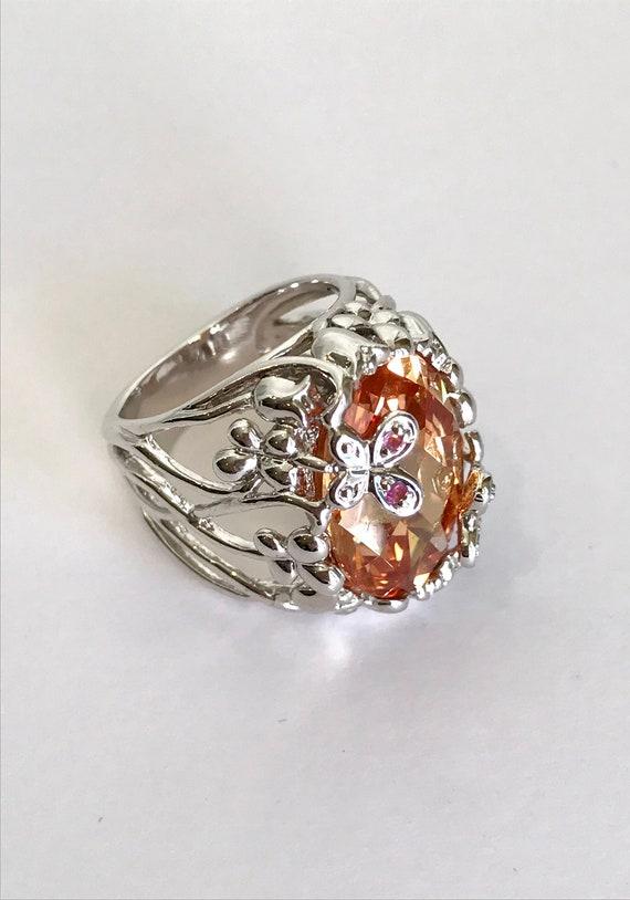Sterling Silver Morganite Ring Estate Ring Peach S