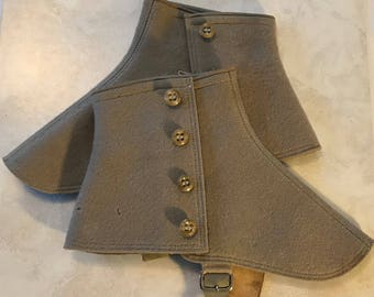 Vintage Four Button Victorian Gray Wool Spats