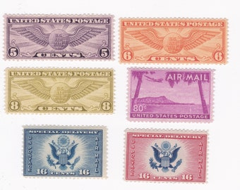 Mint Winged Globe And Diamond Head US Airmail Postage Stamps