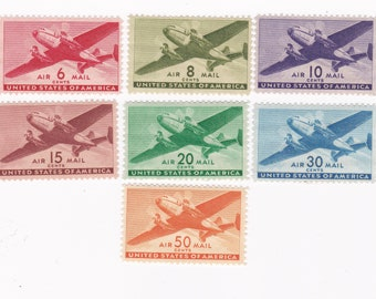 Mint 1940s US Airmail Postage Stamps