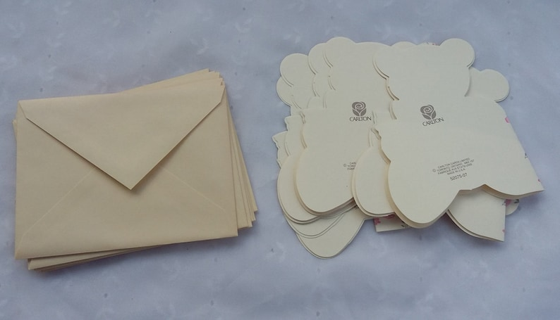 Vintage Thinking of You Cream Colored Teddy Bear Note Cards Envelopes