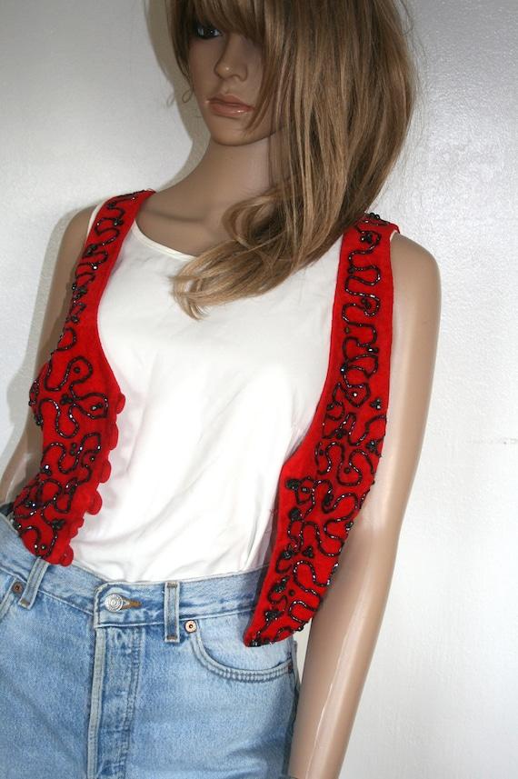 Red Beaded Velvet Vest