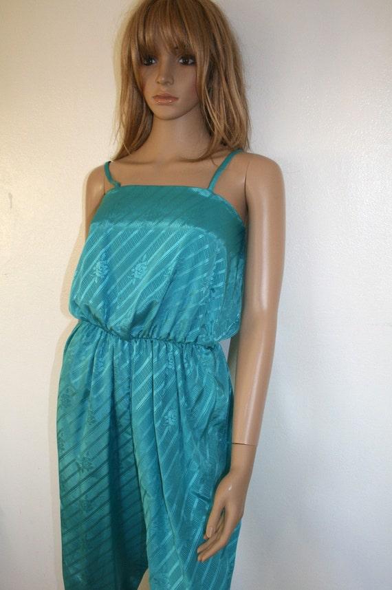 Turquoise Disco Jumpsuit 70s/80s