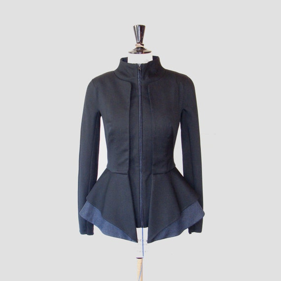 Black wool peplum jacket with layered front side Wool jacket | Etsy