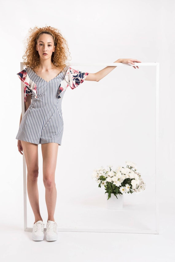 8108d271 SHORT STRIPED JUMPSUIT with ruffle sleeves. Striped Cotton jumpsuit. Custom  Summer striped jumpsuit. Casual jumpsuit. Floral ruffles shorts