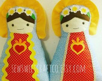 Virgin Mary Handmade Doll, Saint Doll, Catholic Doll, Religious Toy, Softies, Baptism Gift, Easter, Catholic Toy