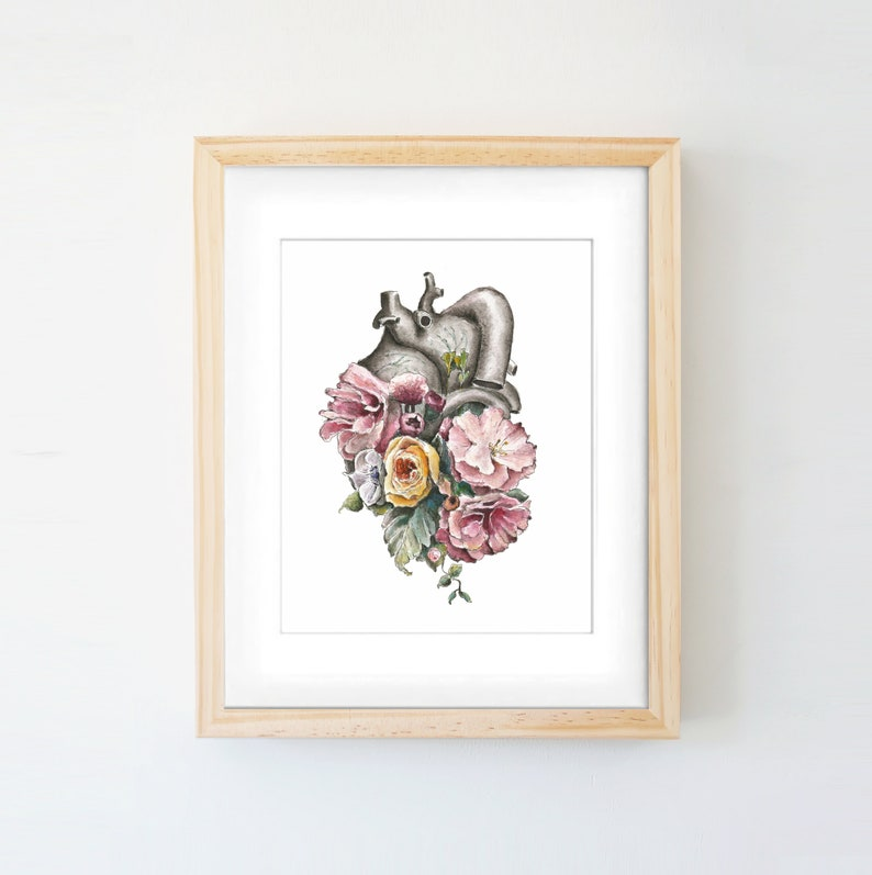 Floral Anatomy Heart Print Of Watercolor Anatomical Art Etsy