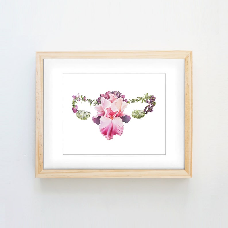 Floral Uterus White Background Female Anatomy Print of Oil image 0