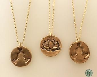 Yoga Inspired Pendants, Lotus Necklace, Meditation Necklace, Buddhist Jewelry