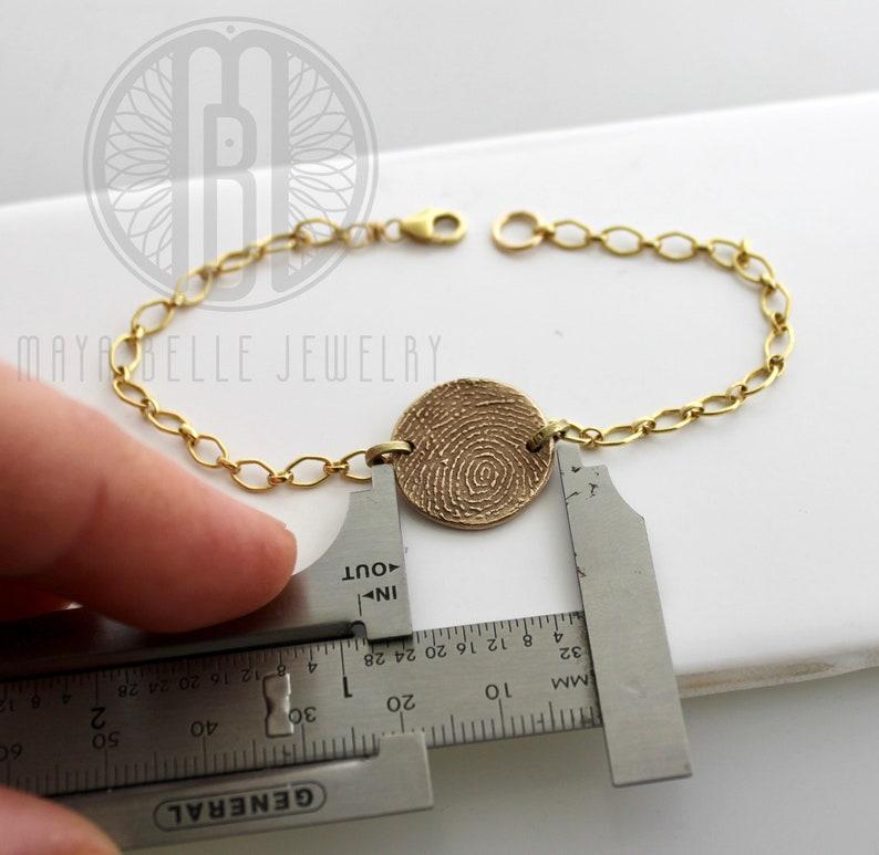 Fingerprint and Handwriting Reversible Bracelet from JPEG image in Pure Bronze and 14k gf Thumbprint