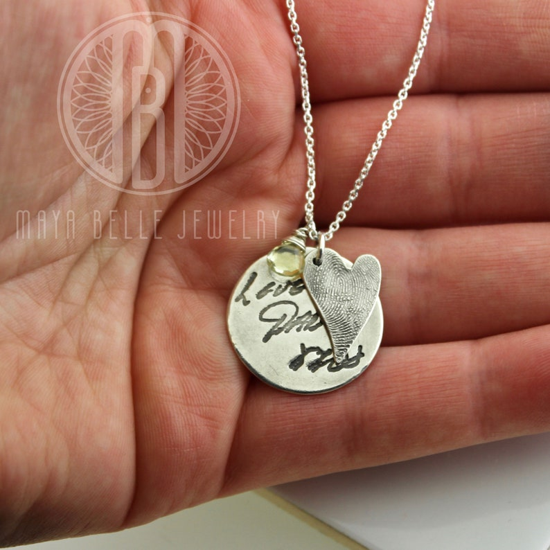Fingerprint and Actual Handwriting necklace made from actual fingerprint and writingsignature and gem stone