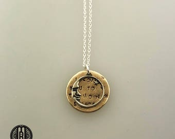 I love you to the Moon and Back necklace, sterling silver and solid bronze, Valentine's day gift