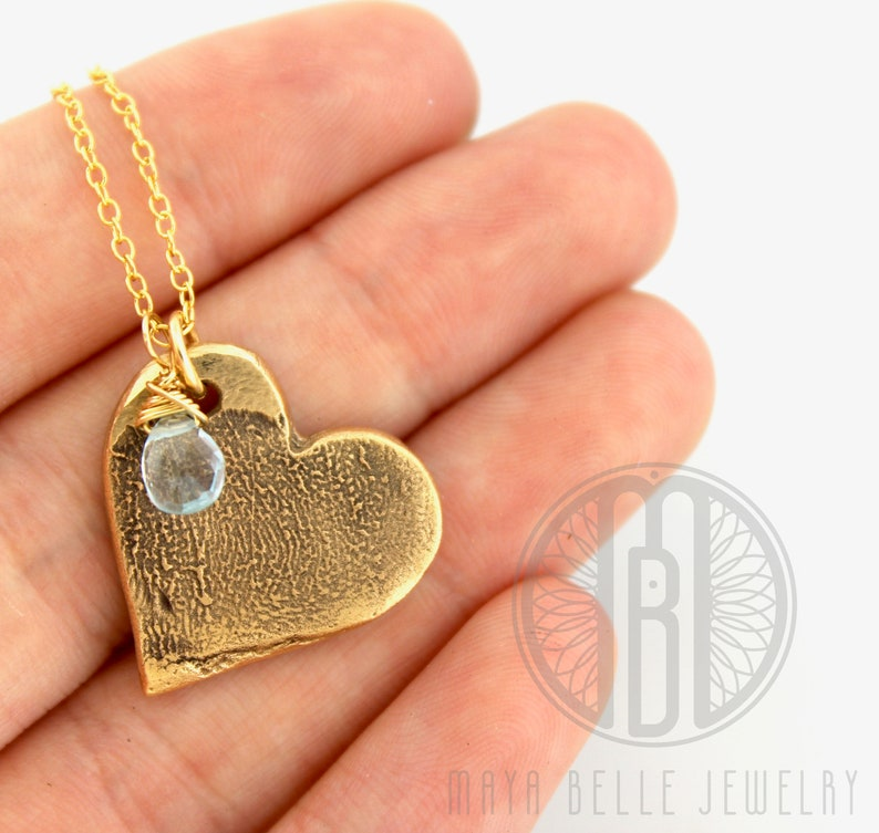 Gold Fingerprint necklace  thumbprint necklace  finger print image 0