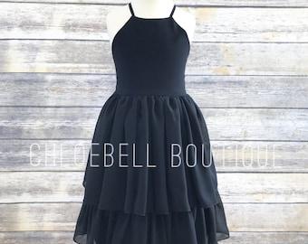 Little Black dress - Tiered black dress - tutu dress dress - Chiffon girl dress - Toddler little black dress - Black- formal girls dress
