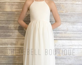 Floor length flower girl dress- Ivory chiffon dress - Ivory chiffon flower girl dress - Toddler off white dress - Special Occasion -cream