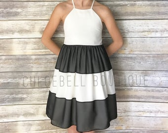 Ivory and Black dress - Striped formal dress - Black and white flower girl dress - Toddler Holiday dress - Girls Special Occasion dress -
