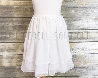 White flower girls dress - White toddler dress - Chiffon flower girl dress - White Chiffon girl dress - Toddler holiday dress - Girls Specia