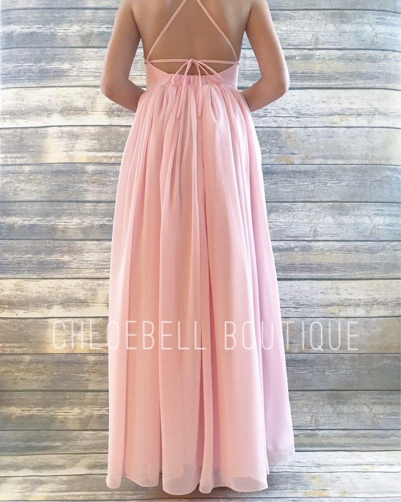 Light Pink chiffon Beach flower girl dress Toddler Floor Length dress maxi dress Blush Pink flower girl dress- Junior bridesmaid