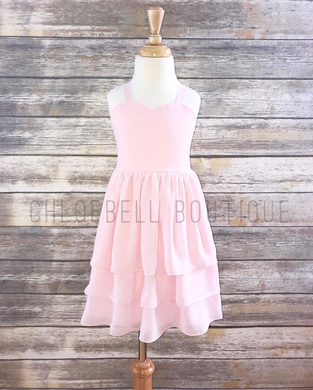 Blush Flower Girl Dress Blush Chiffon Dress Pastel Toddler Etsy