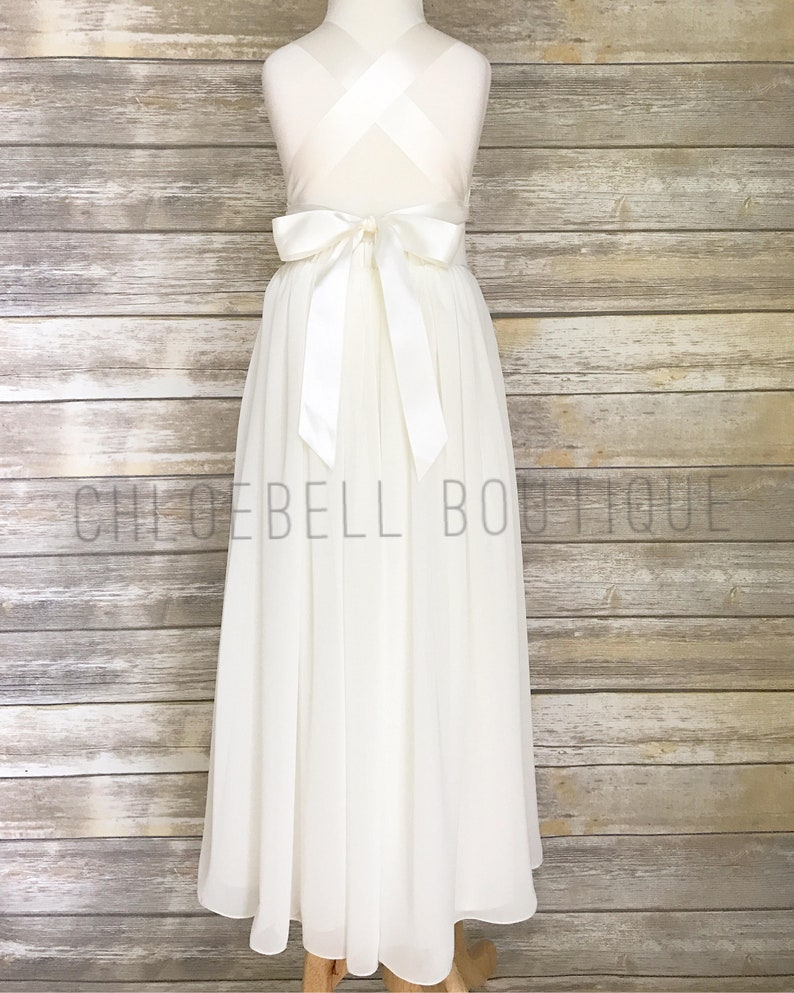 23519052d76 Sweetheart neckline Floor length flower girl dress Ivory