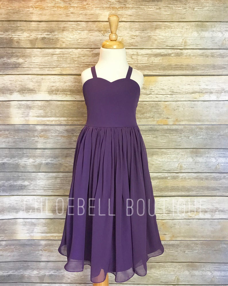 f41613a1167 Midi Purple flower girl dress Plum flower girl dress Plum