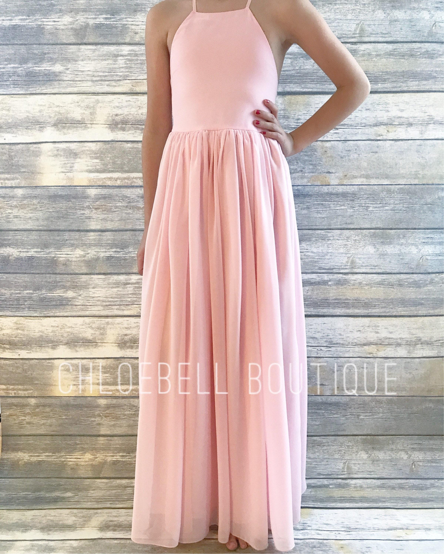 Blush Pink Flower Girl Dress Junior Bridesmaid Toddler Etsy