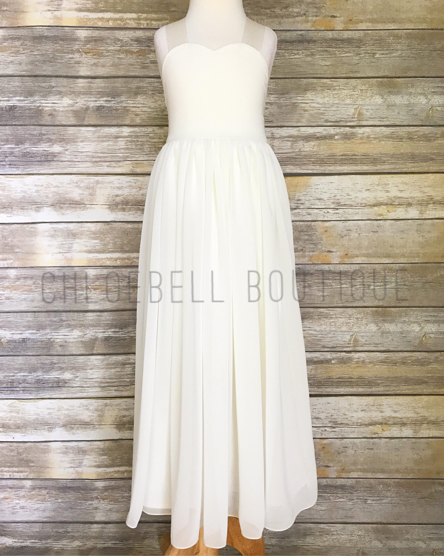 Sweetheart Neckline Floor Length Flower Girl Dress Ivory Etsy