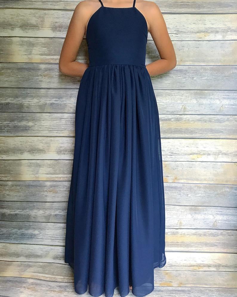 6435cdea2d2 Navy Blue Flower Girl Dress Etsy