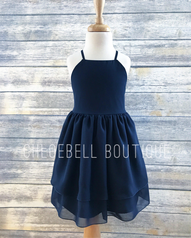 Navy Flower Girls Dress Navy Blue Toddler Dress Chiffon Etsy