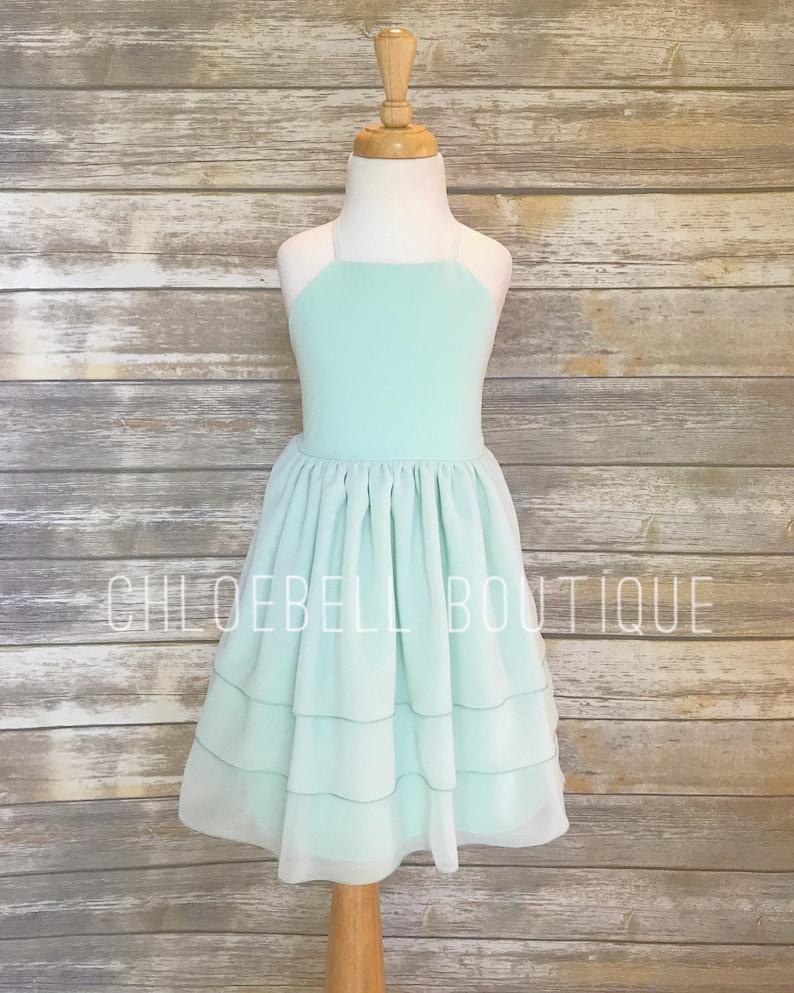 cf0fdad7de806 Mint Chiffon Flower Girl Dress Tiered Toddler Flower Girl   Etsy