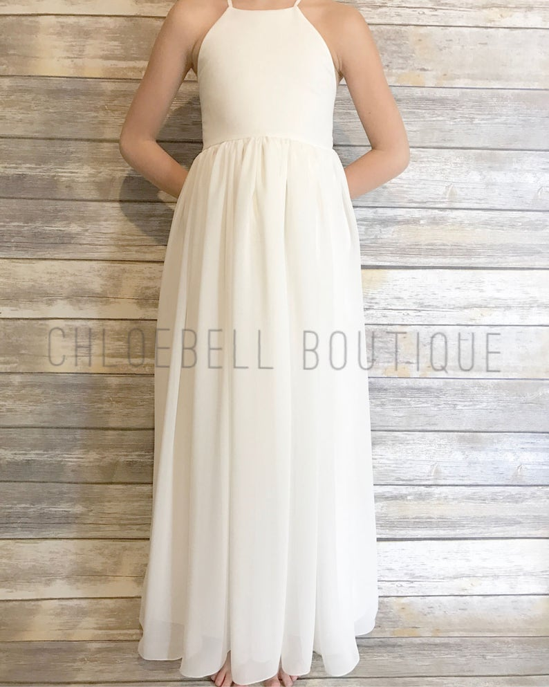3053ff68769 Floor length flower girl dress Ivory chiffon dress Ivory