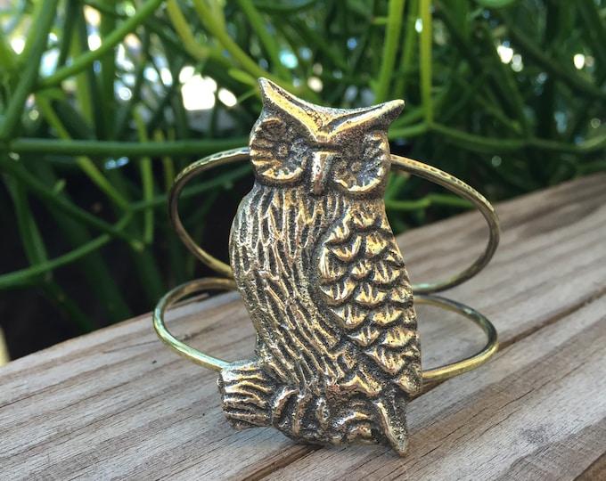 Brass Owl Cuff