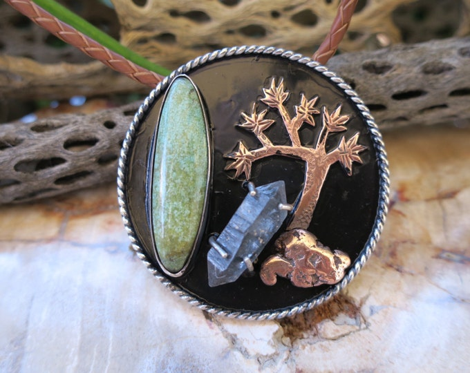 Joshua Tree Pendant 02. Sterling silver cactus necklace with turquoise tourmalated quartz, and michigan copper.
