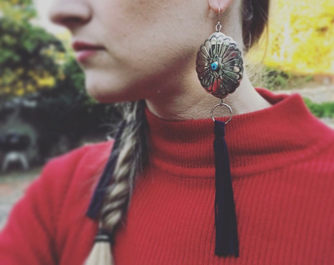 Loose Ends - Turquoise Concho Fringe Earrings