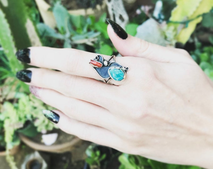 Loose Ends - Turquoise & Coral Ring sz 6.5