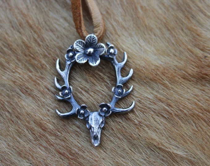 Ready to ship! Floral Deerly Departed Necklace. Sterling silver deer skull antler pendant with flowers.