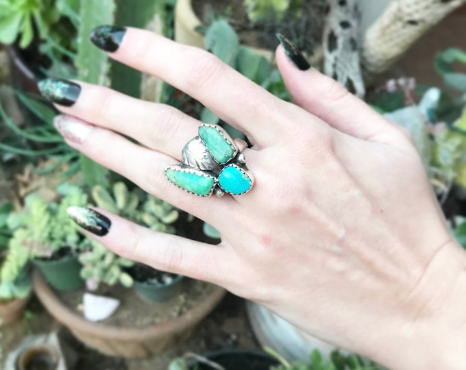 Loose Ends - Raw Emerald Crystal & Turquoise Ring sz 7.5