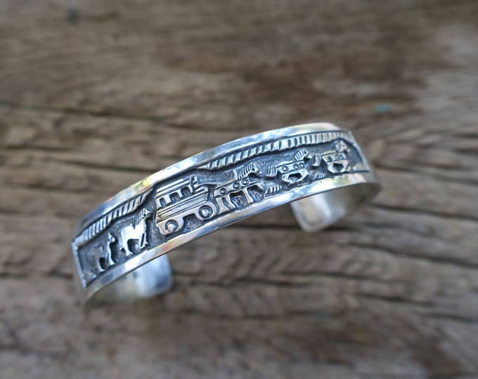 Vintage Narrow Overlay Stamped Sterling Cuff