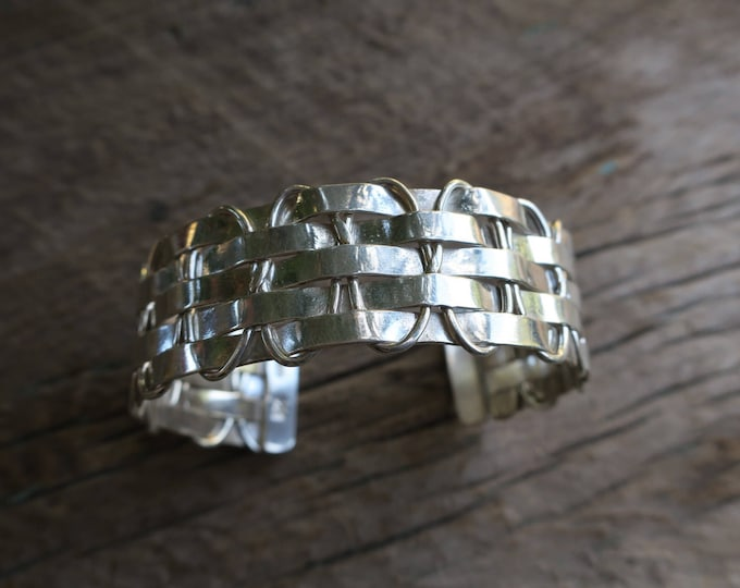 Vintage Woven Stamped Sterling Cuff
