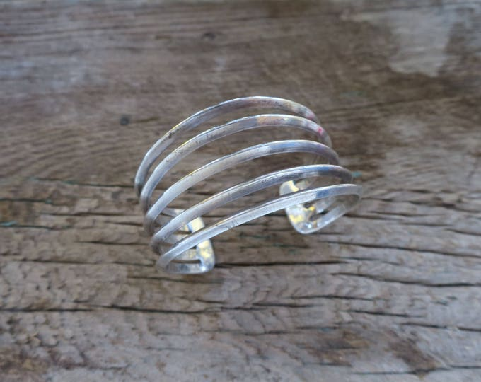 Vintage Wide Triangle Wire Sterling Cuff