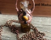 Amora Citrine, Garnet and Tigers Eye Copper Electroformed Rollerball Necklace
