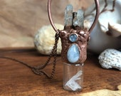 Sirena Moonstone and Quartz Electroformed Rollerball Necklace