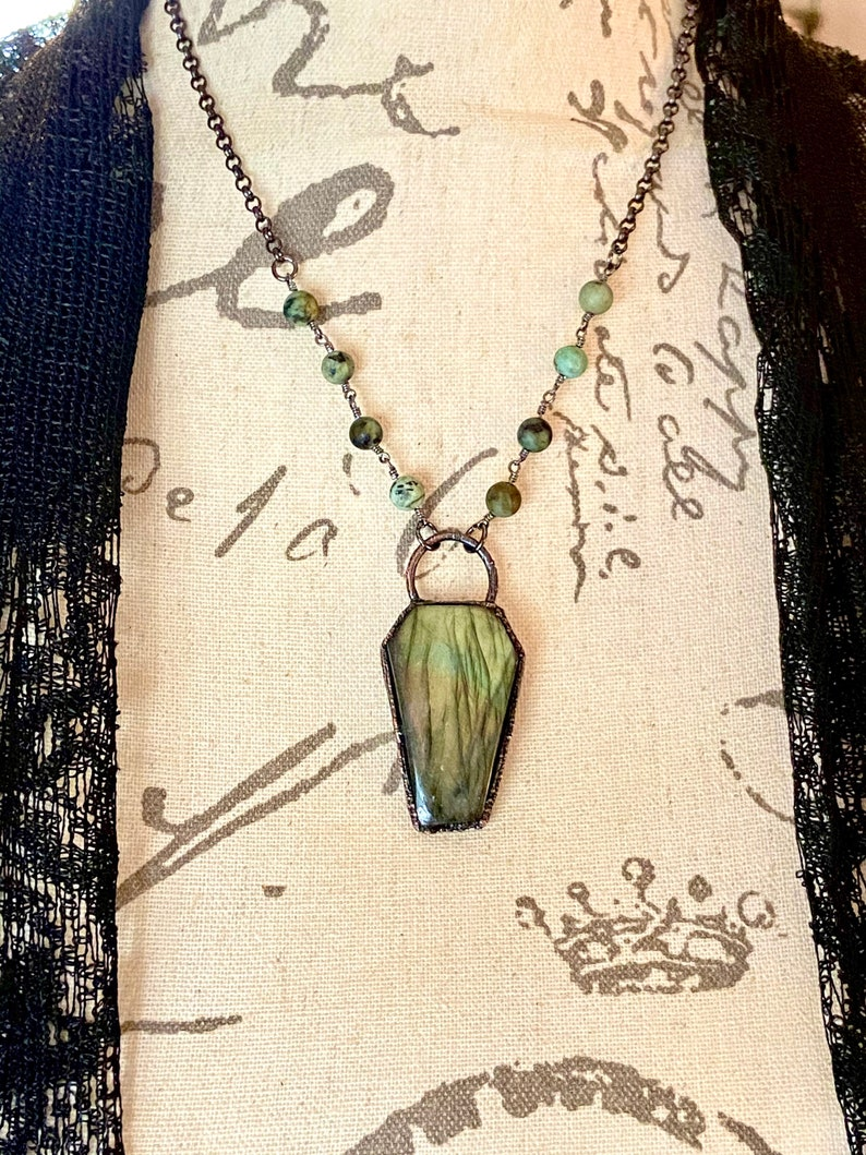 Statement Necklace Labradorite Coffin Necklace Witchy Necklace Copper Electroformed Coffin Pendant with Turquoise Rosary